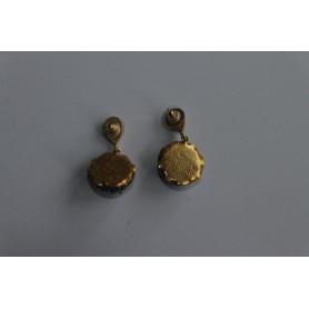 Pendientes aro bronce bañado en oro con piedras naturales fucsia