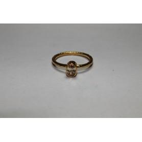 Anillo fino bronce bañado en oro con piedra pequeña natural marrón claro