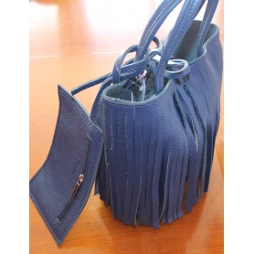 Bolso bandolera de piel azul con flecos, con asa larga y monederito colgante con cierre de cremallera