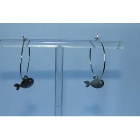 Aros latón con baño de plata y pez bañado en plata