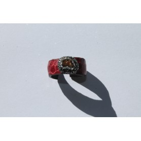 Anillo de cuero ajustable granate y piedras naturales con piedra natural  irregular marrón