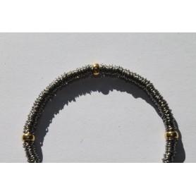 Pulsera 400 arandelas de acero inoxidable y cuatro de plata 925 con baño de oro amarillo
