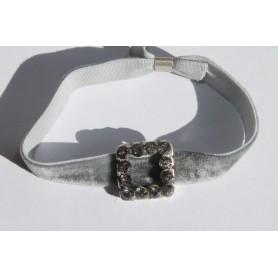 Pulsera de terciopelo elástico gris con hebilla plateada y swarovski