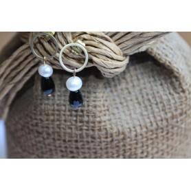 Aro frontal mini con piedra natural negra y perla
