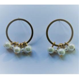 Aros frontales zamak con baño de oro y perlas diferentes tamaños