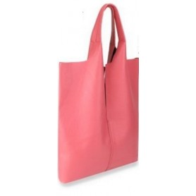 Bolso shopper en piel rosa chicle con cartera interior