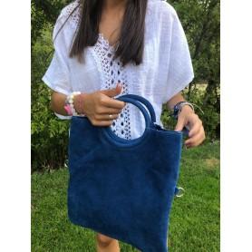Bolso de mano piel azul con asa redonda y cartera interior con cremallera